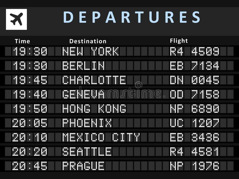 Airport board. Airport departure board with following destinations: New York, Berlin, Charlotte, Geneva, Hong Kong, Phoenix, Mexico City, Seattle and Prague vector illustration