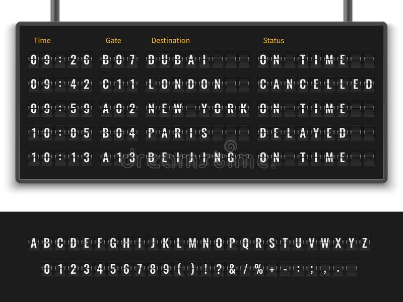 Airport board. Font alphabet info panel arrival departure display timetable destination flight terminal illustration. Airport board. Font alphabet info panel stock illustration