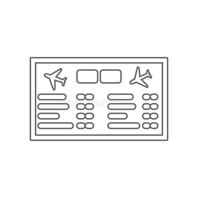 Airport board. Mechanical scoreboard icon. Element of Airport for mobile concept and web apps icon. Outline, thin line icon for. Website design and development vector illustration