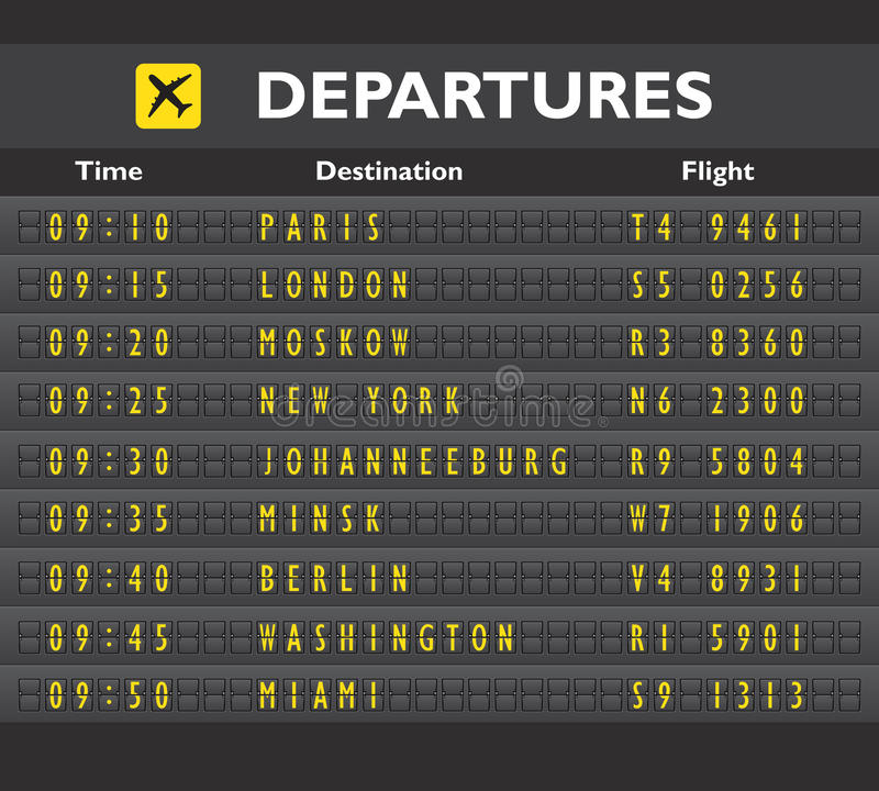 Airport board print. Airport departure arrival destination mechanical analog old style counter board template vector illustration stock illustration