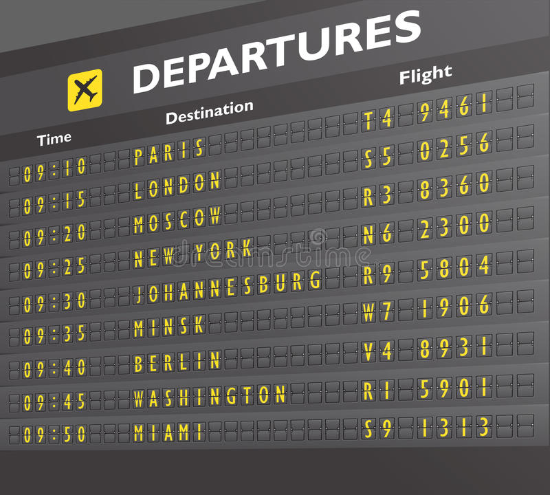 Airport board print. Airport departure arrival destination mechanical analog old style counter board print vector illustration stock illustration