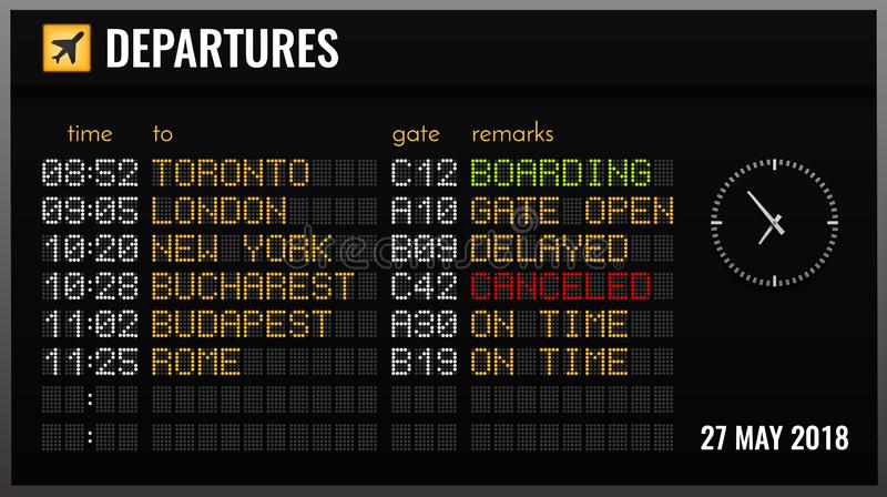 Airport Board Realistic Composition. Black electronic airport board realistic composition with departures time gates and flight directions vector illustration stock illustration