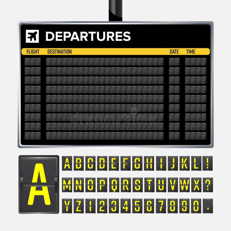 Airport Board Vector. Mechanical flip airport scoreboard. Black airport and railway timetable departure or arrival. Destination ai. Rline board abc. Vector royalty free illustration