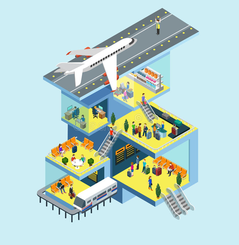 Airport building runway plane flat 3d web isometric concept. Airport building people, runway, airstrip, landing strip, plane flat 3d web isometric infographic stock illustration