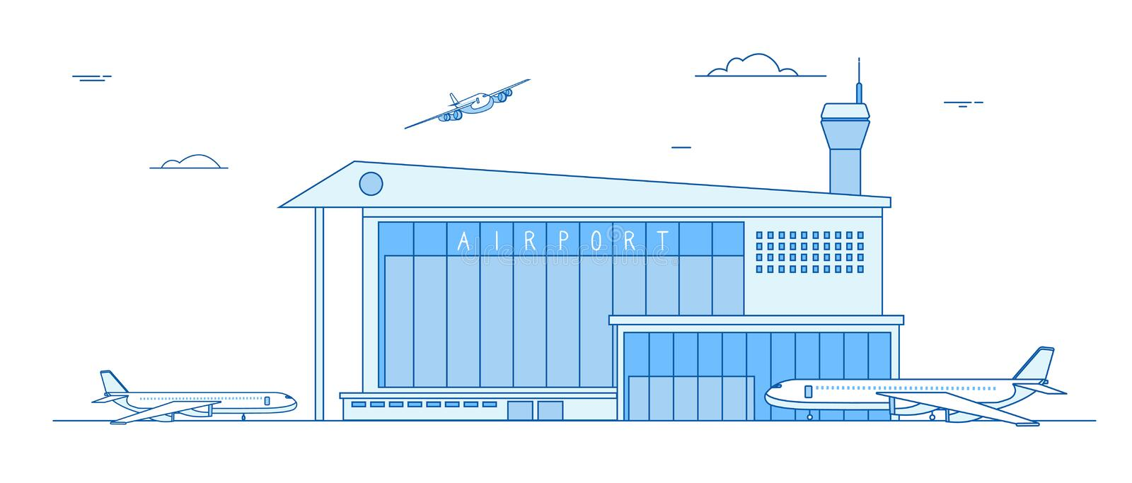 Airport buildings. Landing airplanes international terminal building aircraft runway business cargo transportation line vector illustration