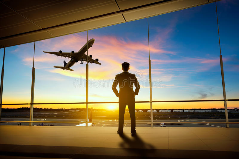 Airport. Businessman standing in airport, Business concept stock photography
