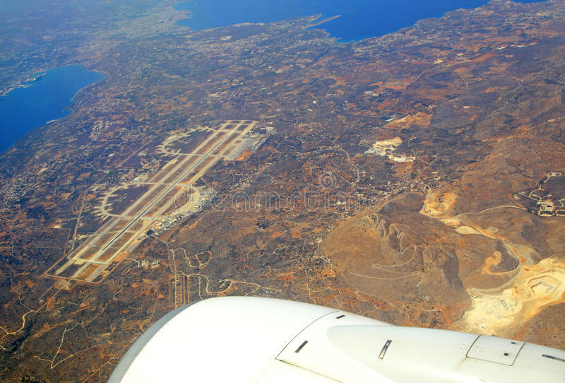 Airport at city Chania from airplane,Greece stock images