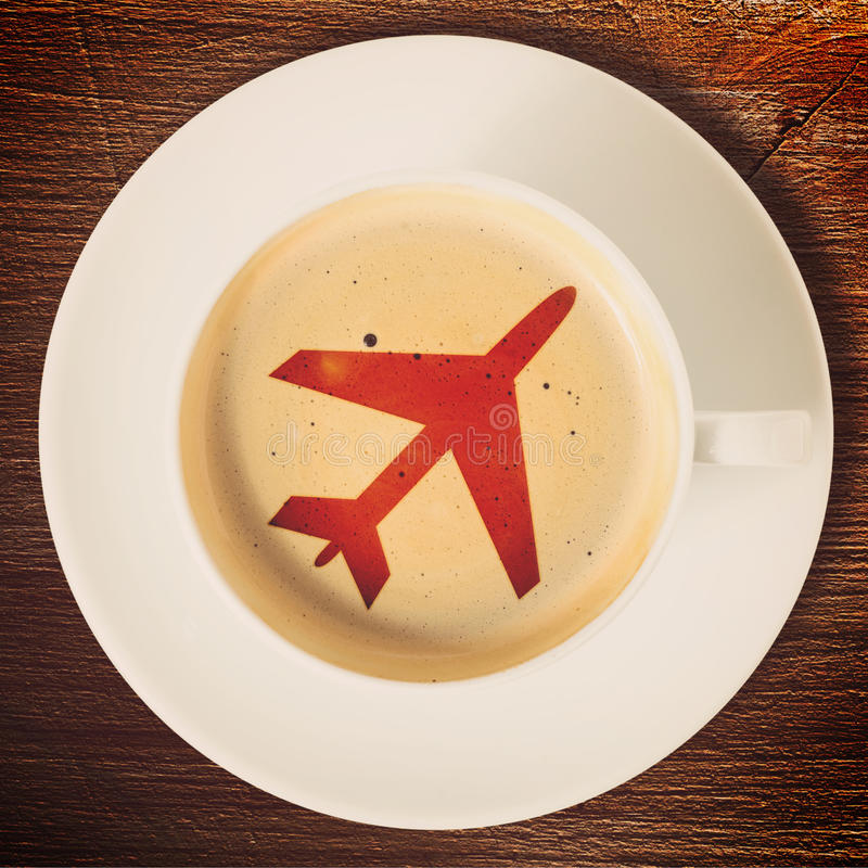 Airport coffee cup stock images