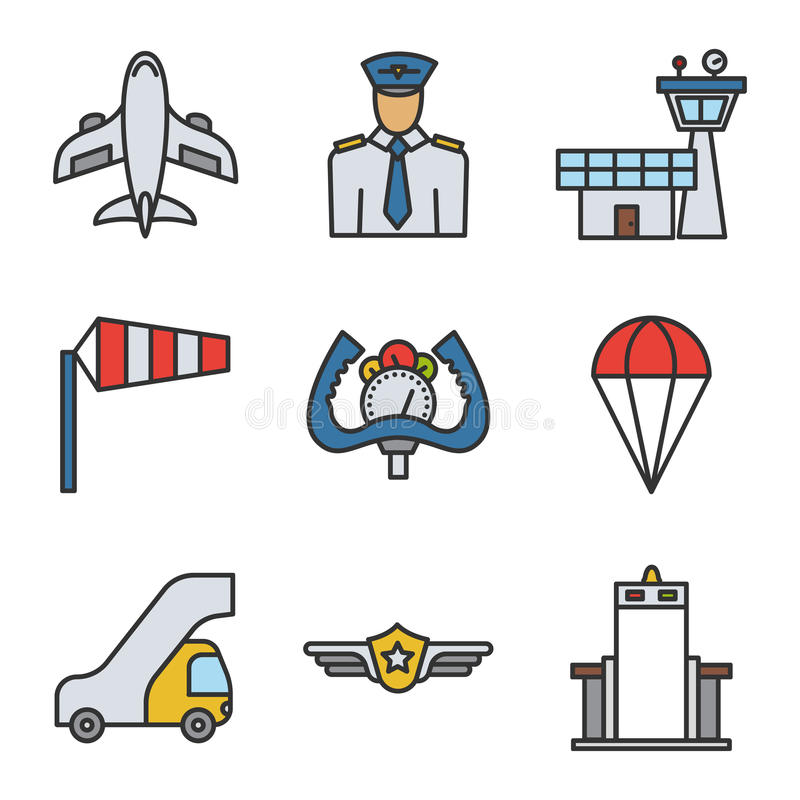 Airport color icons set. Linear symbols set on white background. Airport color icons set. Linear symbols set on white background vector illustration