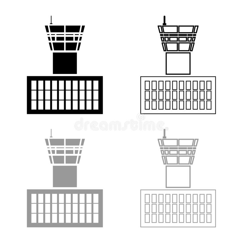 Airport control tower Airport Building Flight control tower icon outline set black grey color vector illustration flat style image. Airport control tower Airport royalty free illustration