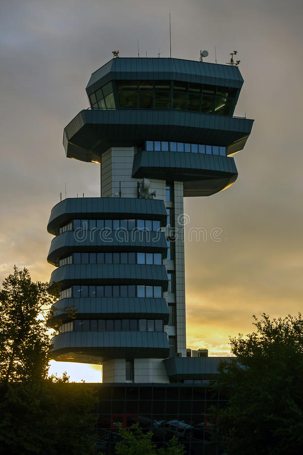 Airport control tower. Closeup of an airport air traffic control tower stock photography