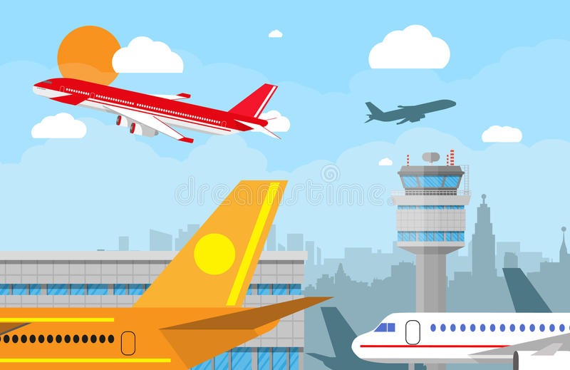 airport control tower and flying airplane stock vector rh dreamstime com Old Airplanes Airplane Silhouette