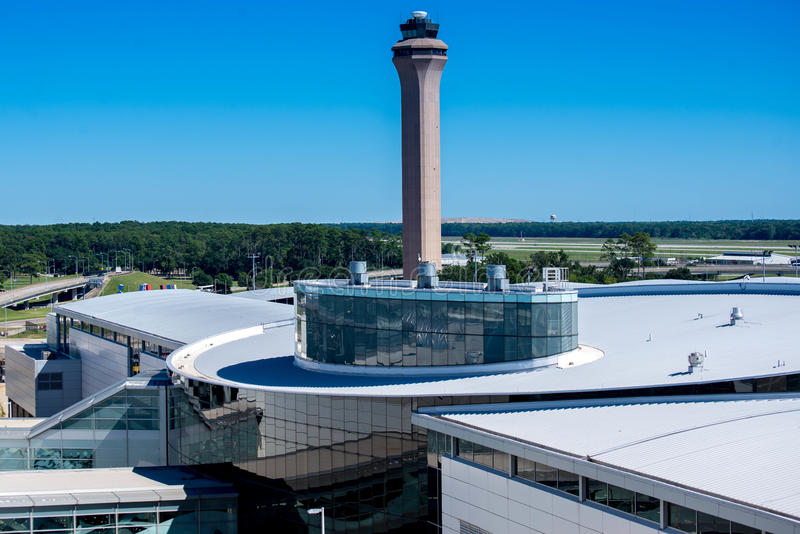 Airport control tower and terminal at IAH stock photo