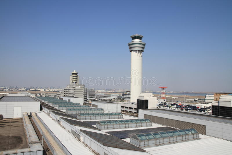 Airport control tower. At tokyo international airport stock photography