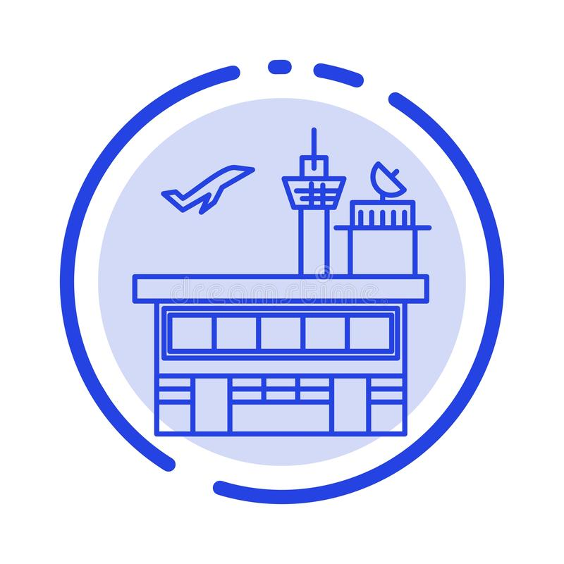 Airport, Conveyance, Shipping, Transit, Transport, Transportation Blue Dotted Line Line Icon royalty free illustration