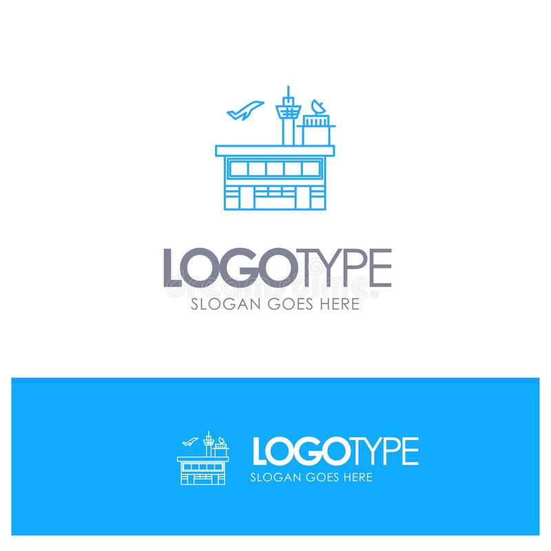 Airport, Conveyance, Shipping, Transit, Transport, Transportation Blue outLine Logo with place for tagline stock illustration