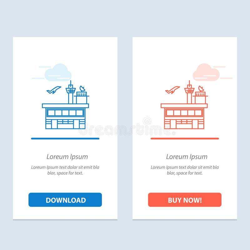Airport, Conveyance, Shipping, Transit, Transport, Transportation  Blue and Red Download and Buy Now web Widget Card Template stock illustration