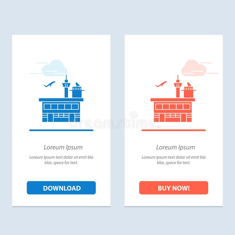 Airport, Conveyance, Shipping, Transit, Transport, Transportation  Blue and Red Download and Buy Now web Widget Card Template vector illustration