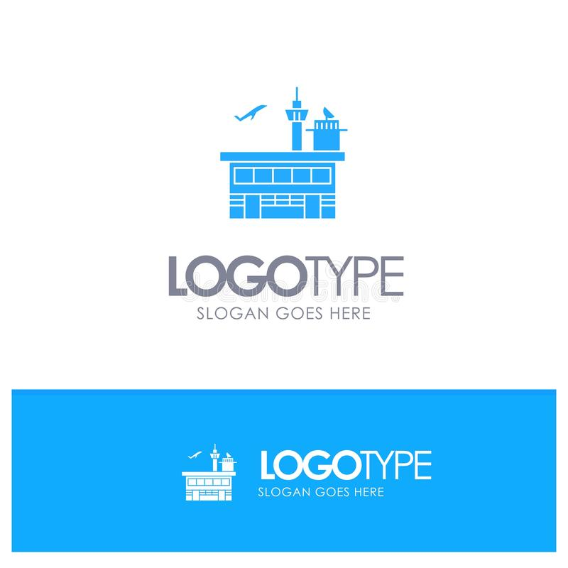 Airport, Conveyance, Shipping, Transit, Transport, Transportation Blue Solid Logo with place for tagline royalty free illustration