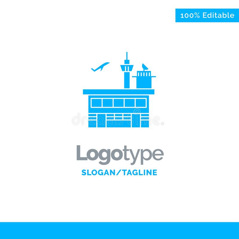 Airport, Conveyance, Shipping, Transit, Transport, Transportation Blue Solid Logo Template. Place for Tagline royalty free illustration