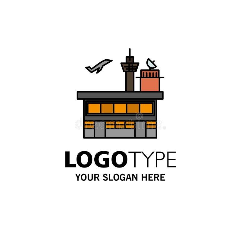 Airport, Conveyance, Shipping, Transit, Transport, Transportation Business Logo Template. Flat Color stock illustration