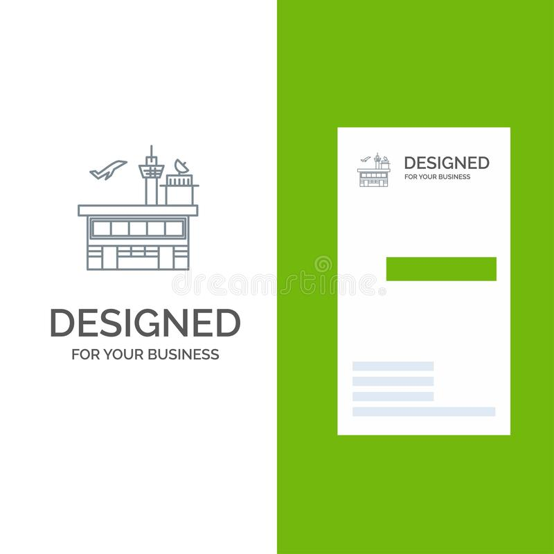 Airport, Conveyance, Shipping, Transit, Transport, Transportation Grey Logo Design and Business Card Template vector illustration