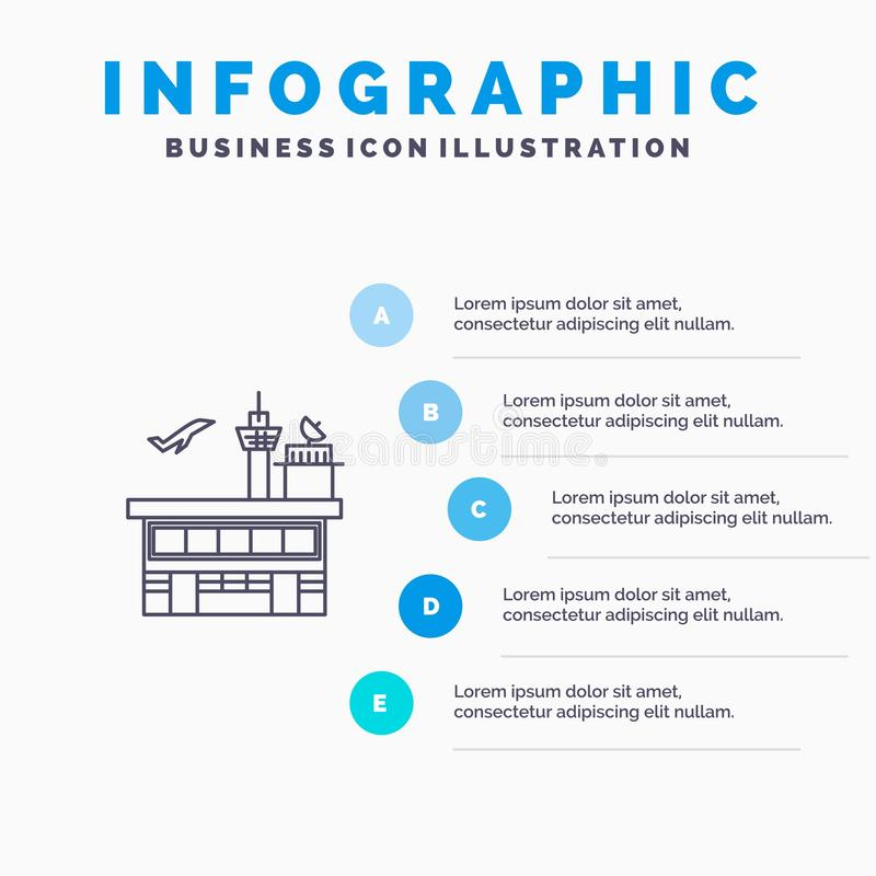 Airport, Conveyance, Shipping, Transit, Transport, Transportation Line icon with 5 steps presentation infographics Background vector illustration