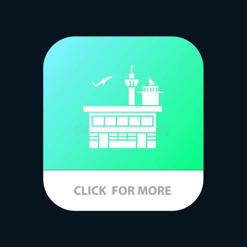 Airport, Conveyance, Shipping, Transit, Transport, Transportation Mobile App Button. Android and IOS Glyph Version stock illustration