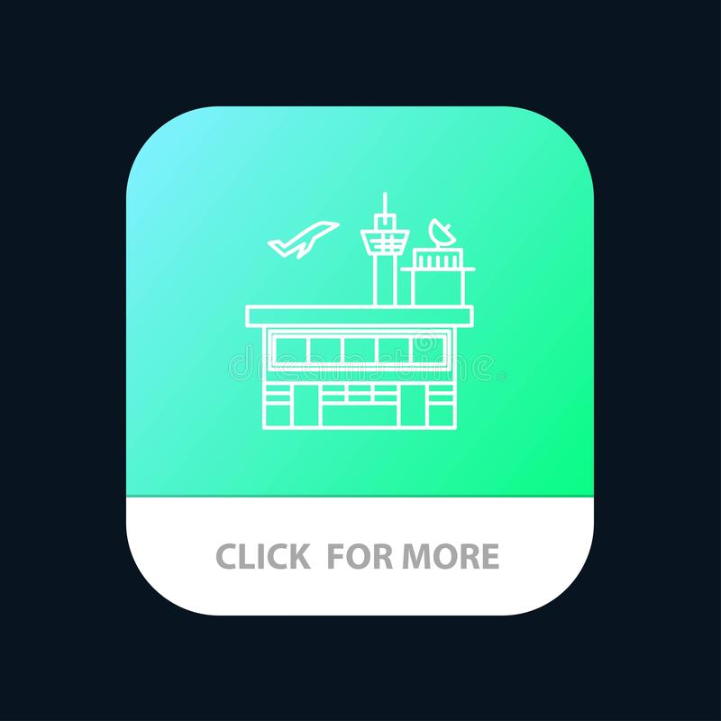 Airport, Conveyance, Shipping, Transit, Transport, Transportation Mobile App Button. Android and IOS Line Version royalty free illustration