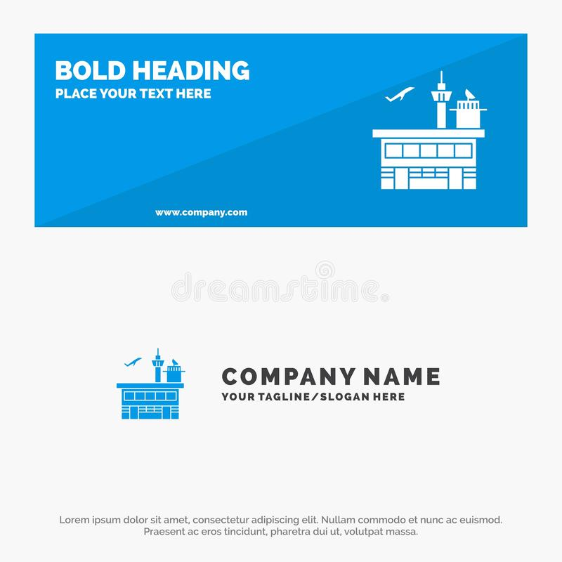 Airport, Conveyance, Shipping, Transit, Transport, Transportation SOlid Icon Website Banner and Business Logo Template stock illustration