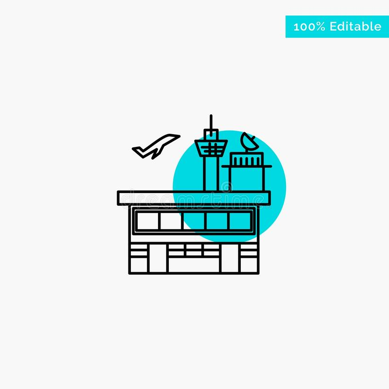 Airport, Conveyance, Shipping, Transit, Transport, Transportation turquoise highlight circle point Vector icon vector illustration