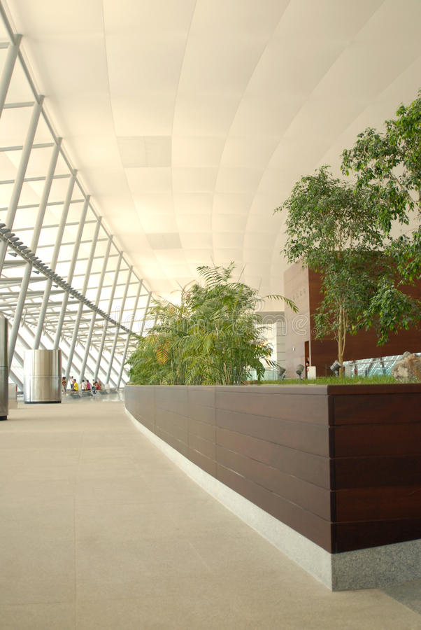 Airport corridor stock image
