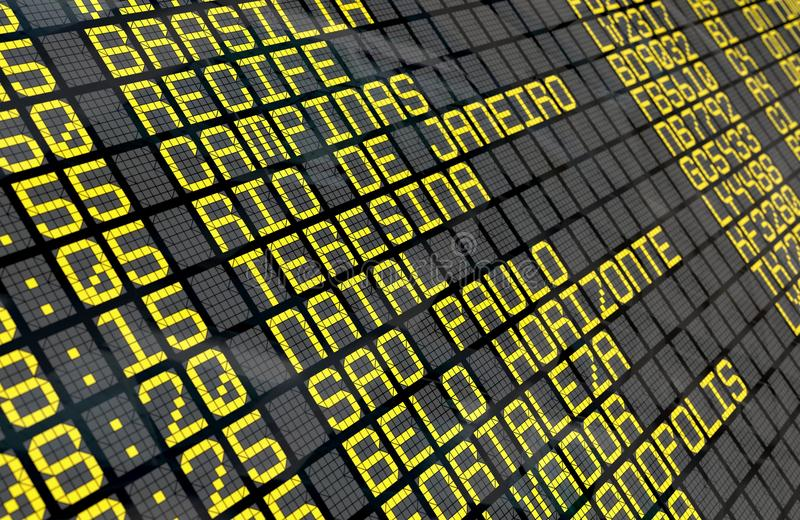 Airport Departure Board with Brazilian destinations. Close-up of an airport departure board to Brazilian cities destinations, with environment reflection. Part vector illustration