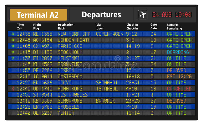 Airport departure board. Creative abstract business travel and airline transportation concept: vector illustration of airport departure board with timetable of royalty free illustration