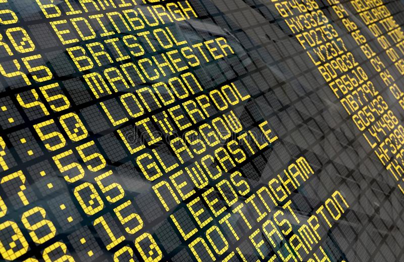 Airport Departure Board with United Kingdom destinations stock photos