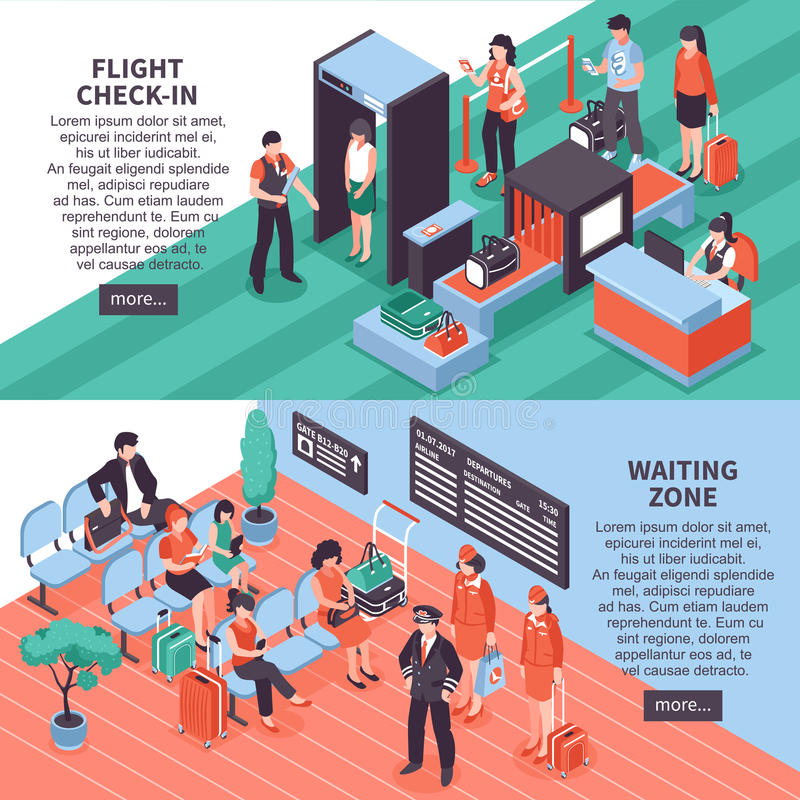 Airport Departure Isometric Banners Design royalty free illustration