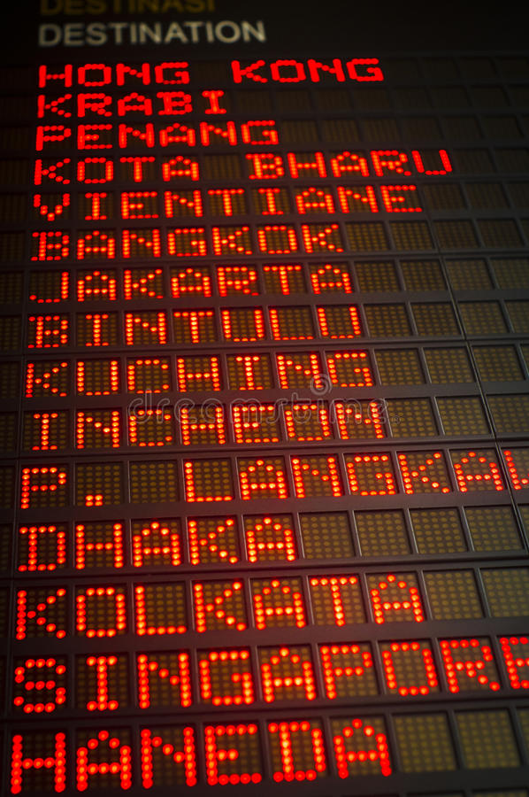 Airport Departures Board Stock Images