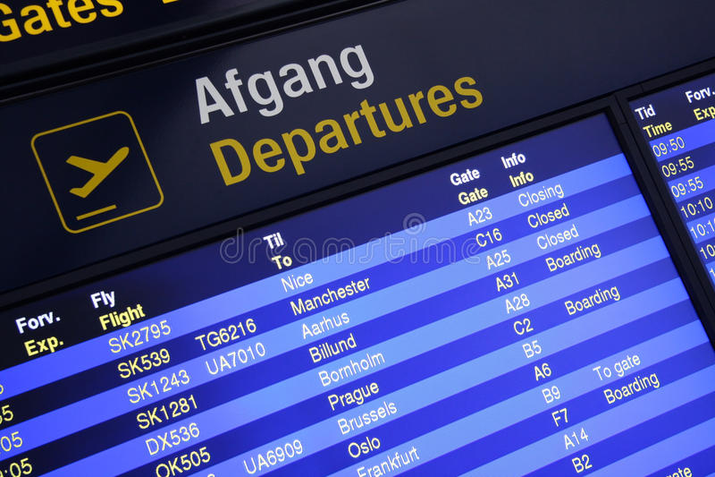 Airport departures board. In the Copenhagen airport, Denmark royalty free stock image