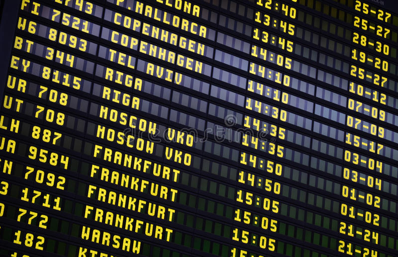 Airport Departures Board royalty free stock image