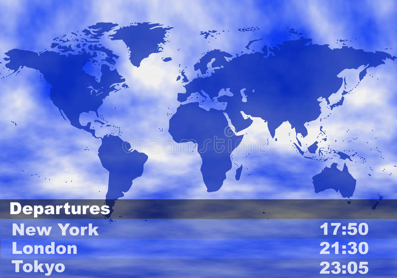 Airport departures concept. With world map in background stock illustration