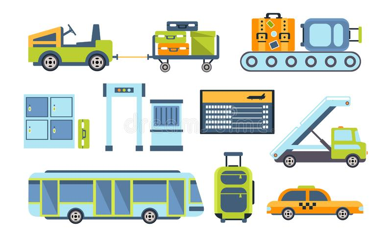 Airport Design Elements Set, Different Transport Types, Service Facilities, Security Checkpoint Vector Illustration. On White Background stock illustration