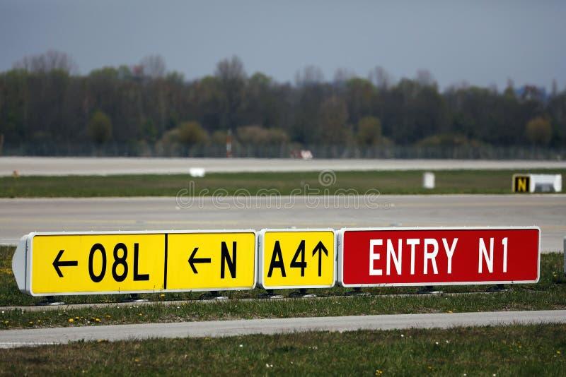 Runway 08L in airport stock photo