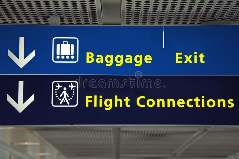 Airport direction flight sign stock images