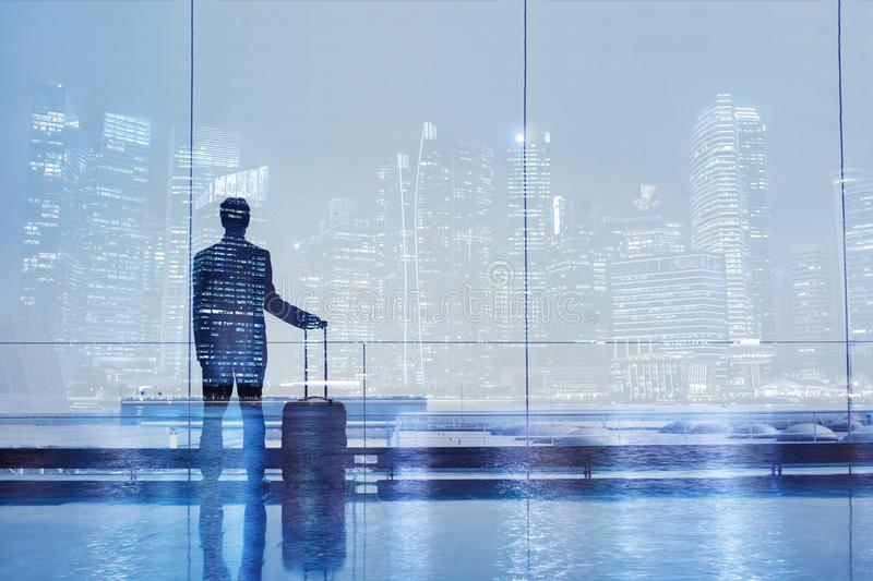 Airport double exposure, business travel stock photography