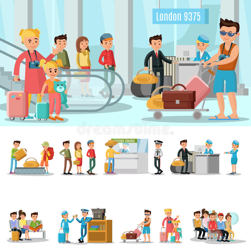 Airport Elements Concept. With people passing customs security control waiting in lounge room and boarding on airplane vector illustration stock illustration