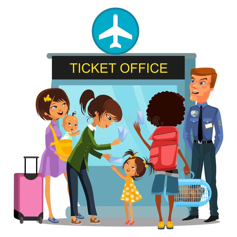 Airport employee checks boarding passports - passports, tickets from people passing gate, Family with baby travels by. Airplane, Woman child talking to officer royalty free illustration