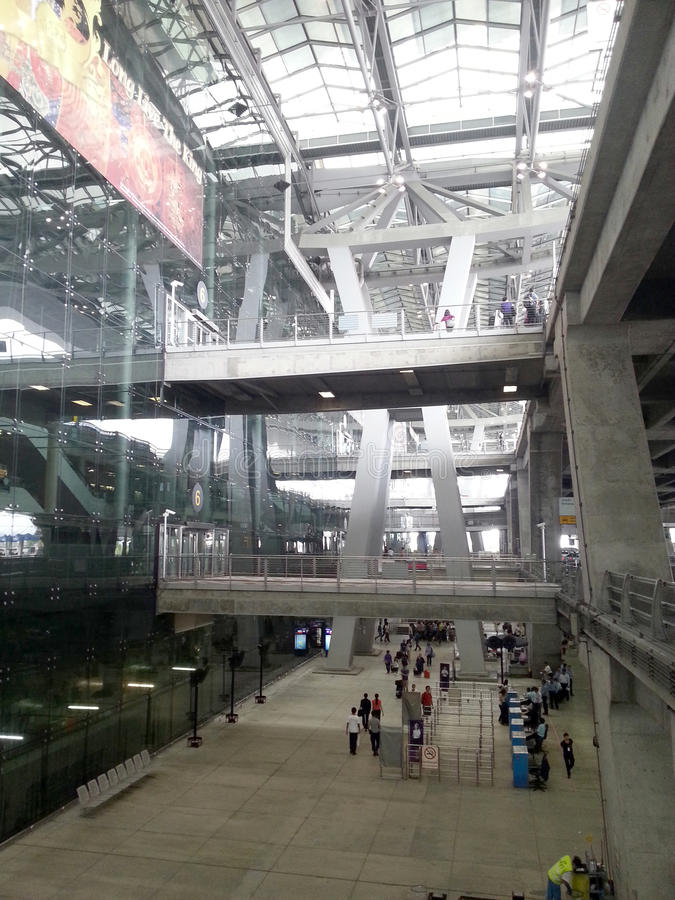 Airport entrance hall architecture structure. With people around royalty free stock photos