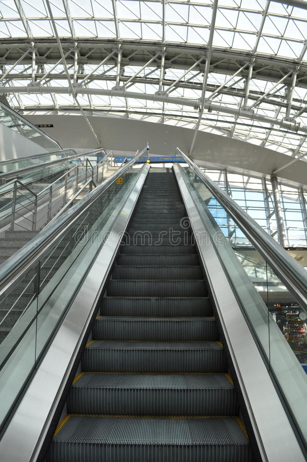 Airport Escalator Going Up royalty free stock image