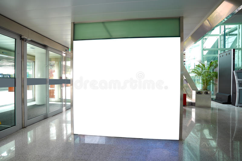 Airport exit door glass wall corridor wall lightboxes stock images