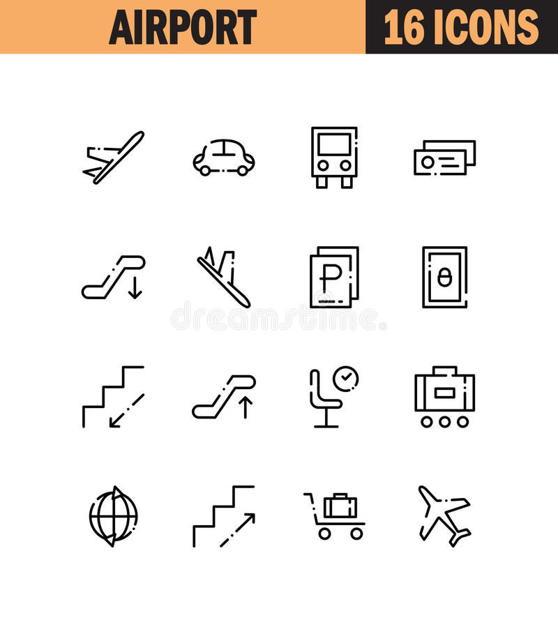 Airport Flat Icon Set Stock Vector Illustration Of Professional